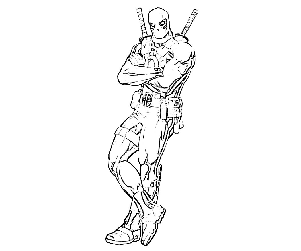 Deadpool Black And White Coloring Pages