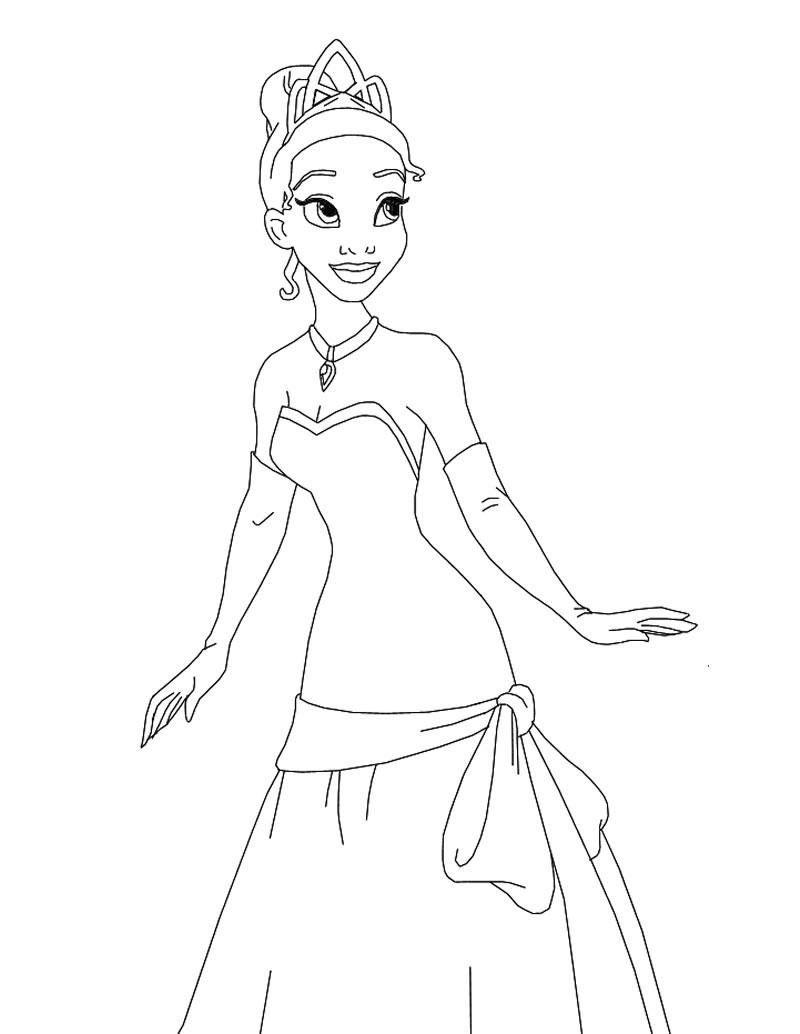 Printable Princess Tiana Coloring Pages Coloringmecom