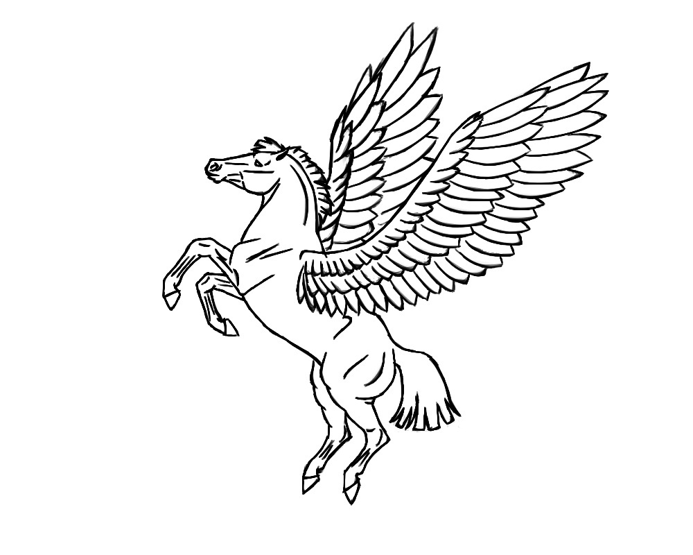 flying pegasus coloring page
