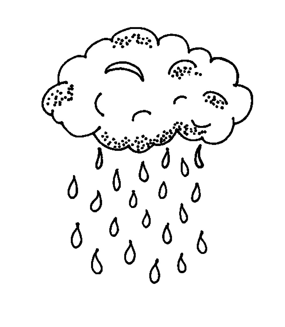 It's just a photo of Refreshing Rain Cloud Coloring Page
