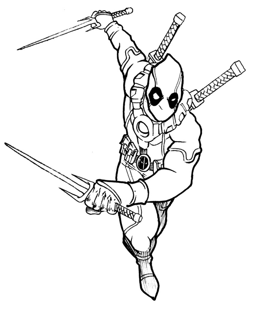 deadpool coloring sheets
