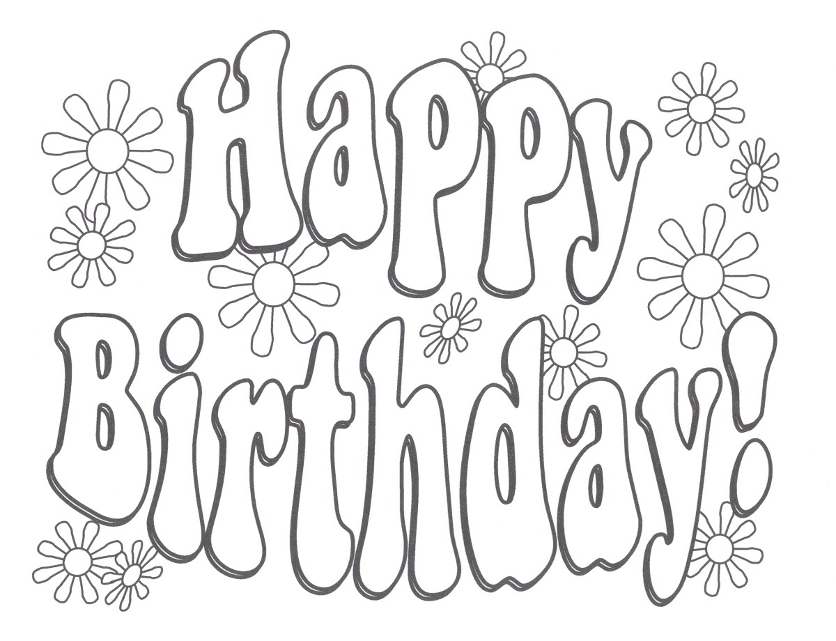 Printable Happy Birthday Coloring Pages Coloring Me Coloring Pages For Birthday