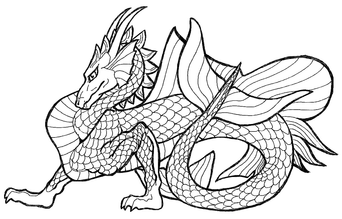 Online coloring for adults free - Chinese Dragon Coloring Sheets