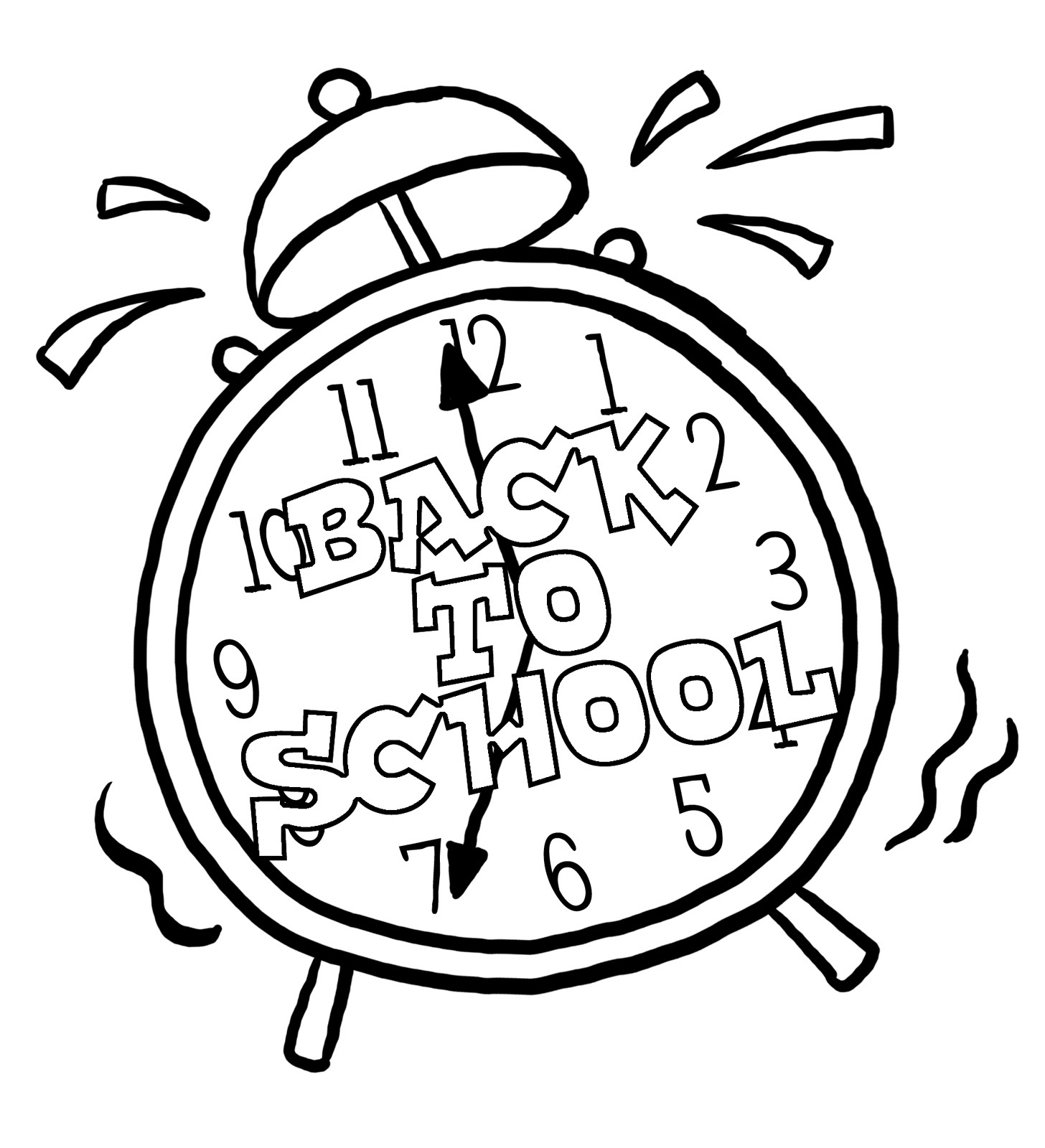 clock coloring sheets - Back To School Coloring Pages Printable