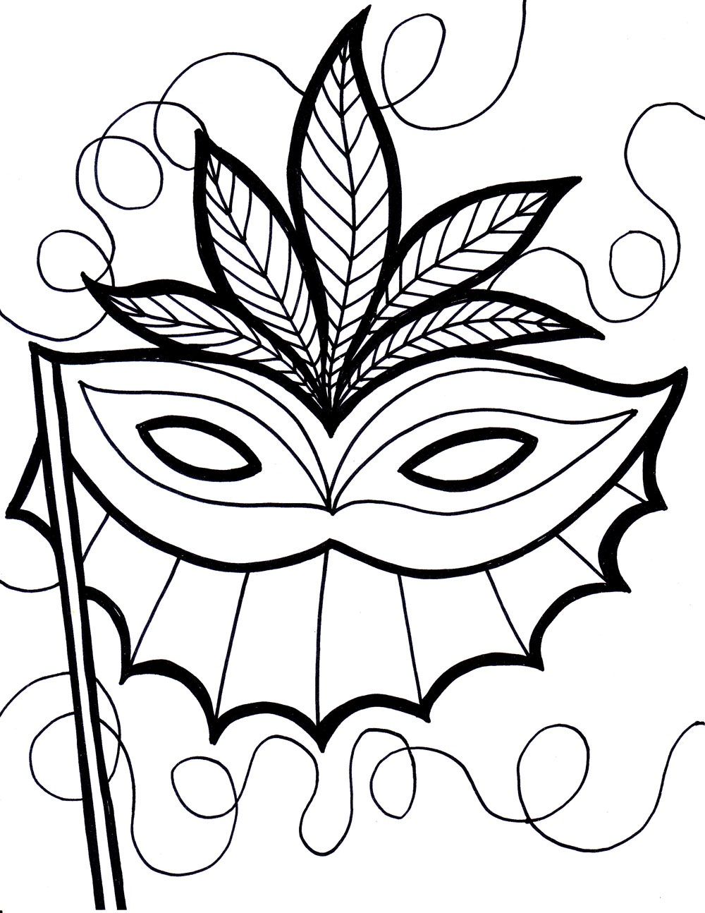 Free coloring pages of rabbit face mask for Coloring pages masks