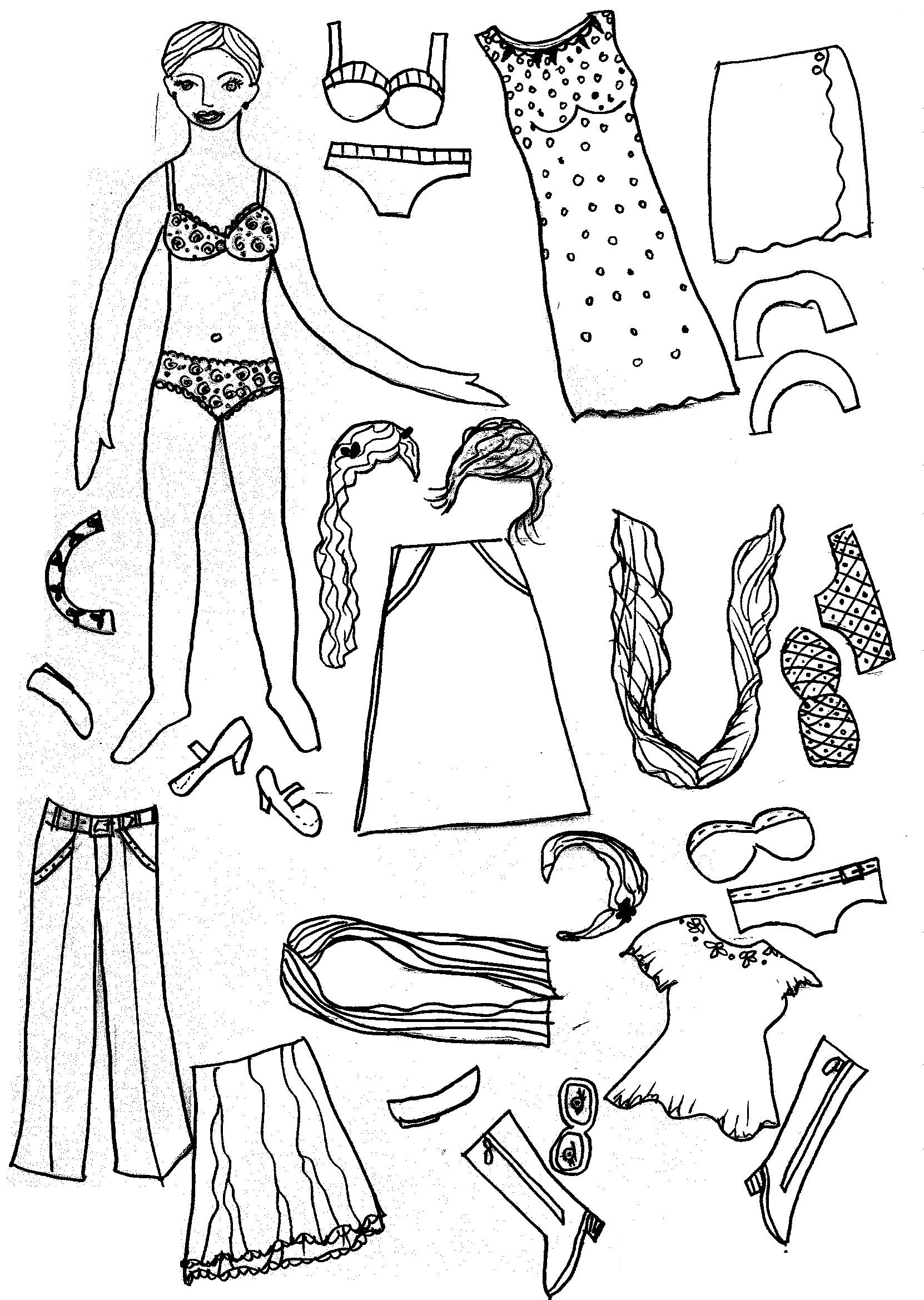 image about Printable Paper Doll Clothing identified as Printable Paper Doll Coloring Web pages