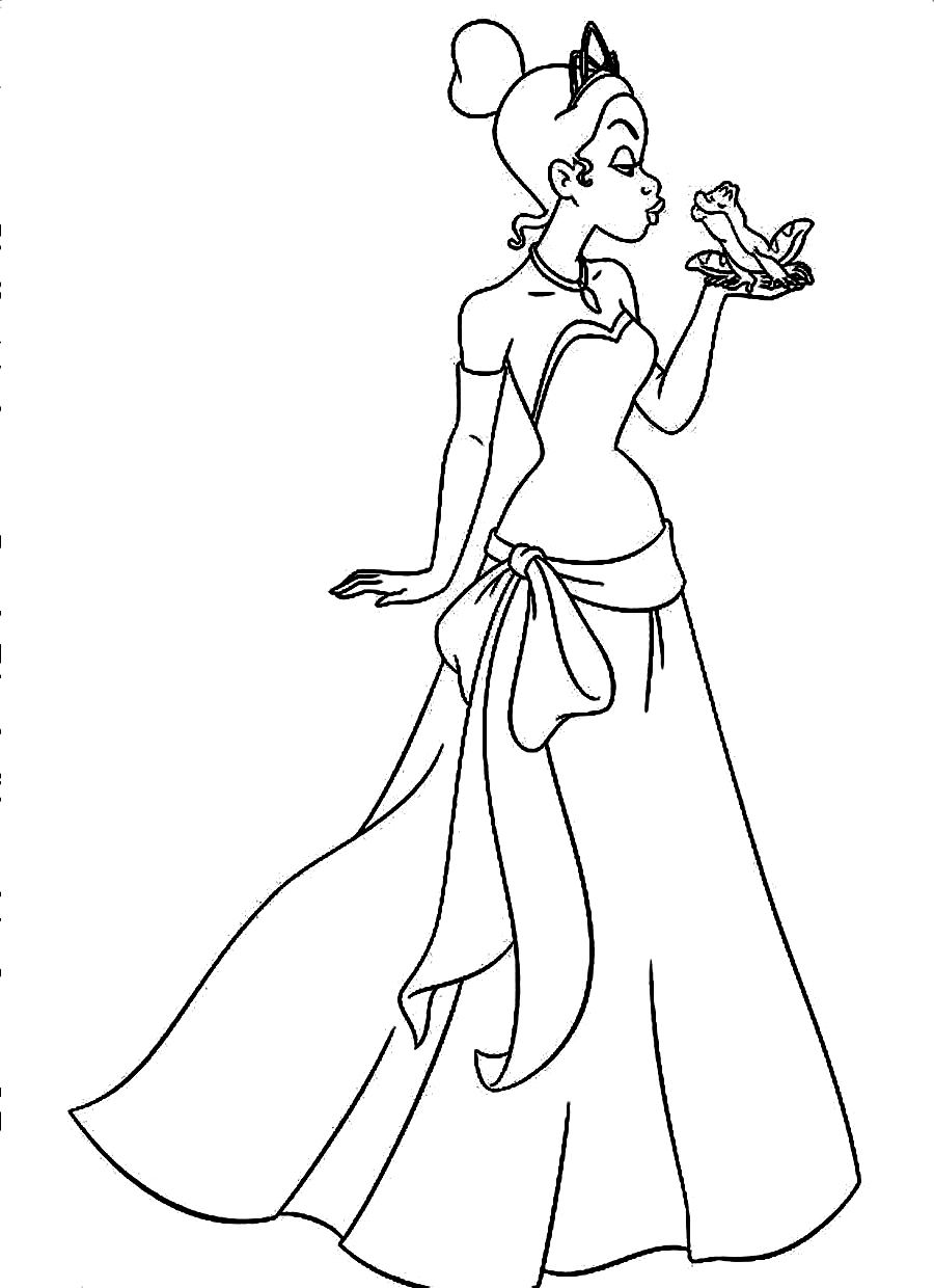 Printable Princess Tiana Coloring Pages Coloring Me From The Princess And The Frog Free Coloring Sheets