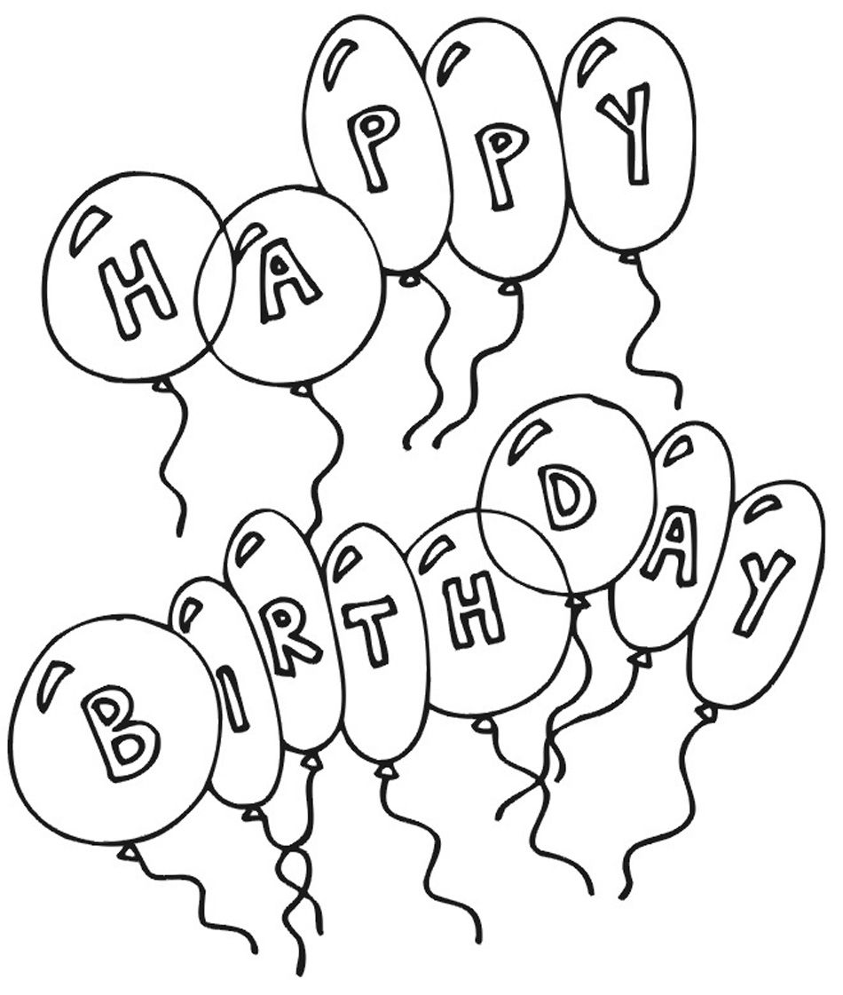 Printable Happy Birthday Coloring Pages Coloring Me Birthday Balloons Coloring Pages