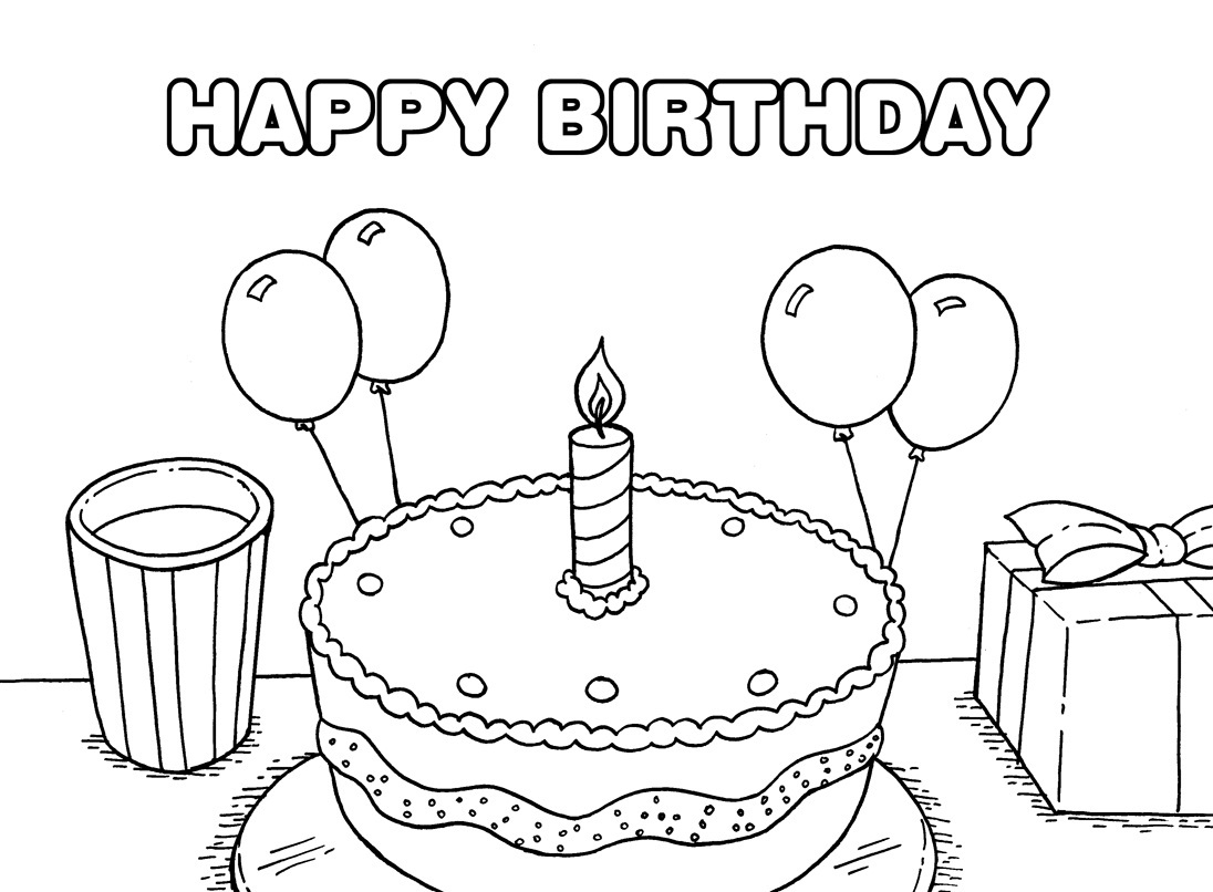Printable happy birthday coloring pages coloring me - Color for th birthday ...