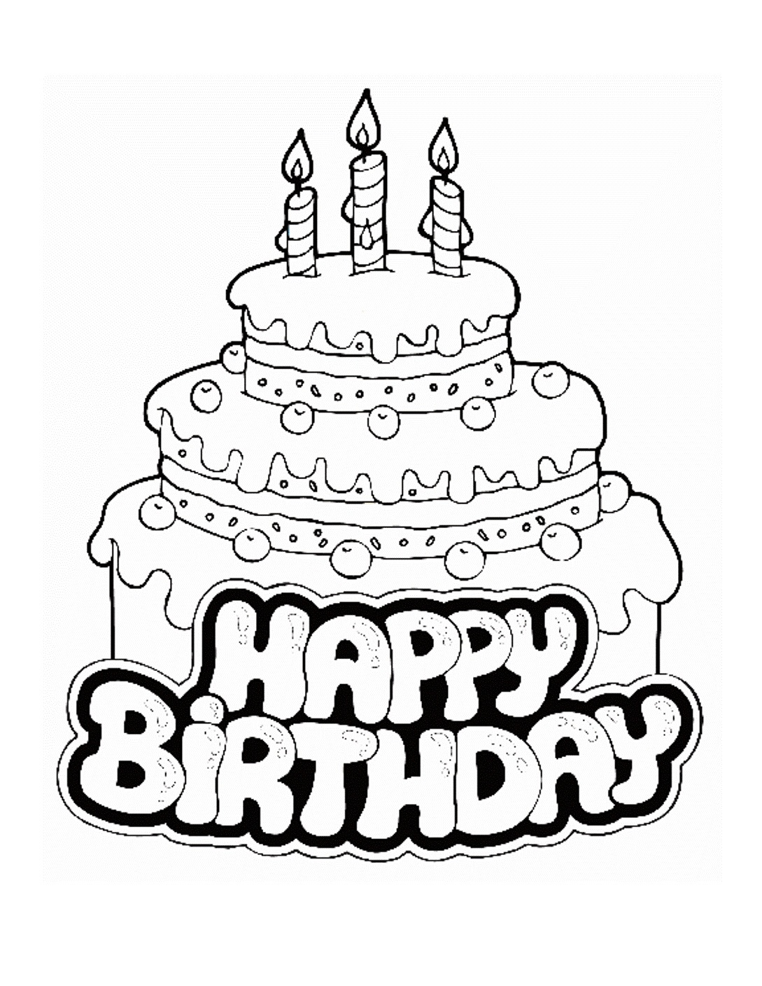Printable Happy Birthday Coloring Pages Coloringme Com