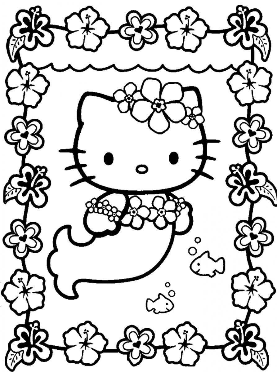 Hello Kitty Coloring Pages 8 Kids Printable Mermaid Me