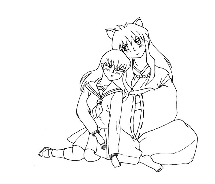 Inuyasha coloring pages murderthestout Vampire Knight Coloring Pages Sesshomaru and Kagome Kissing Coloring Pages Kagome Coloring