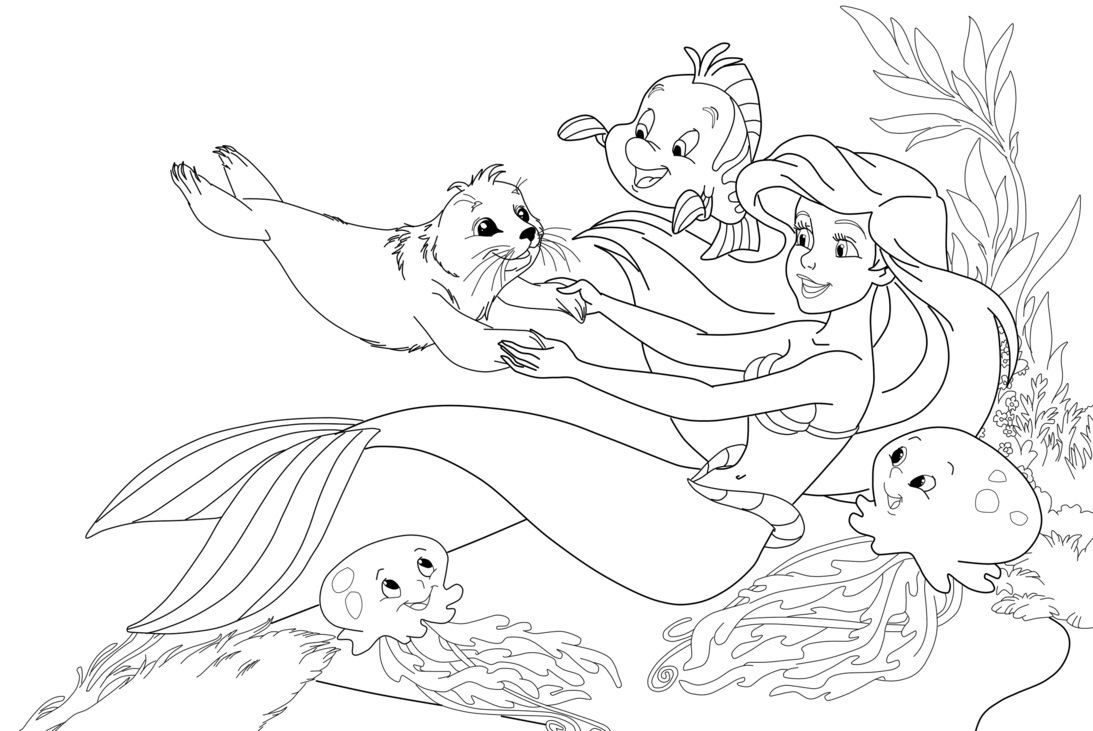 ariel mermaid coloring pages free - photo#33