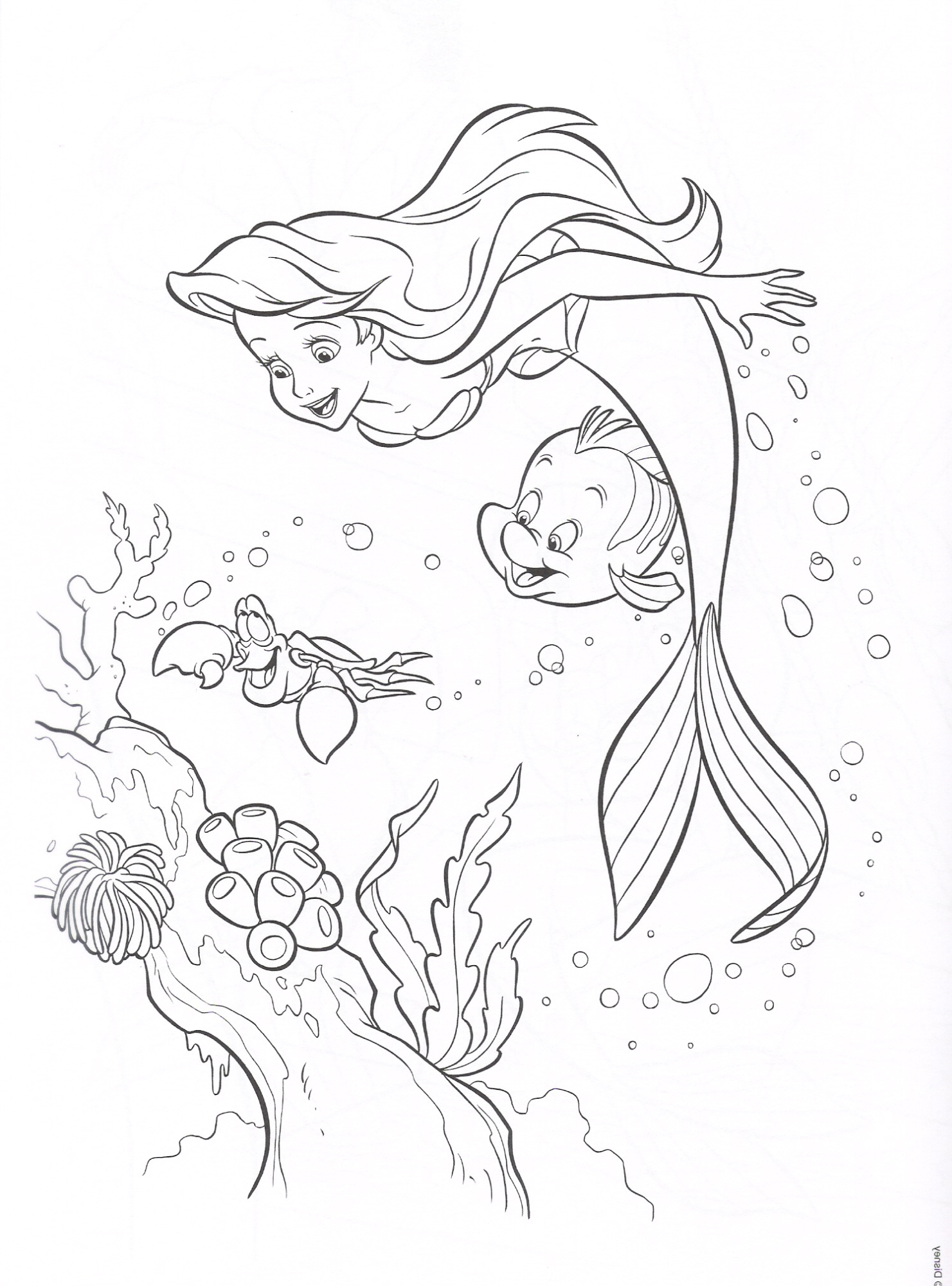 coloring book pages little mermaid - photo#36