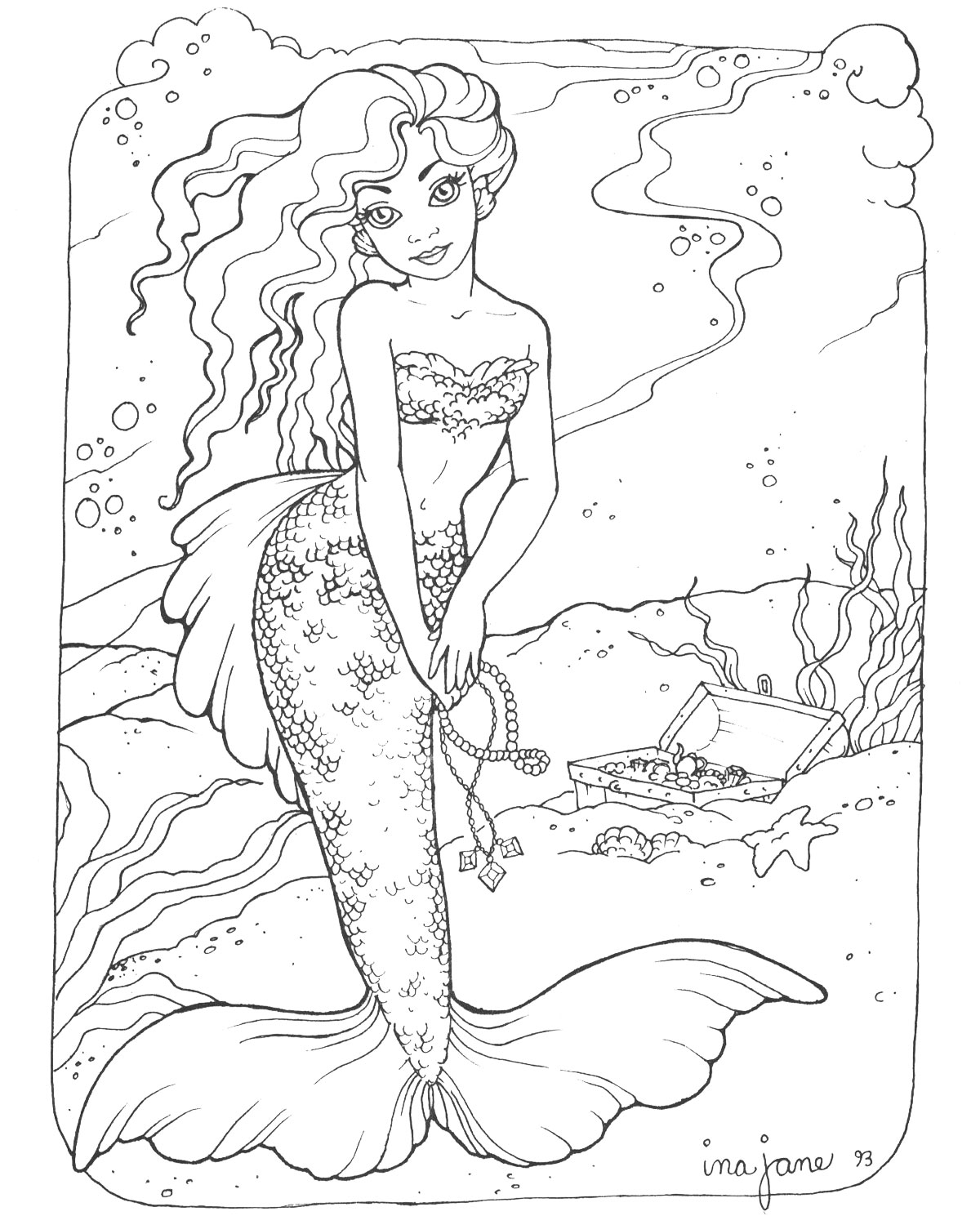 Printable Mermaid Coloring Pages Coloringme Com