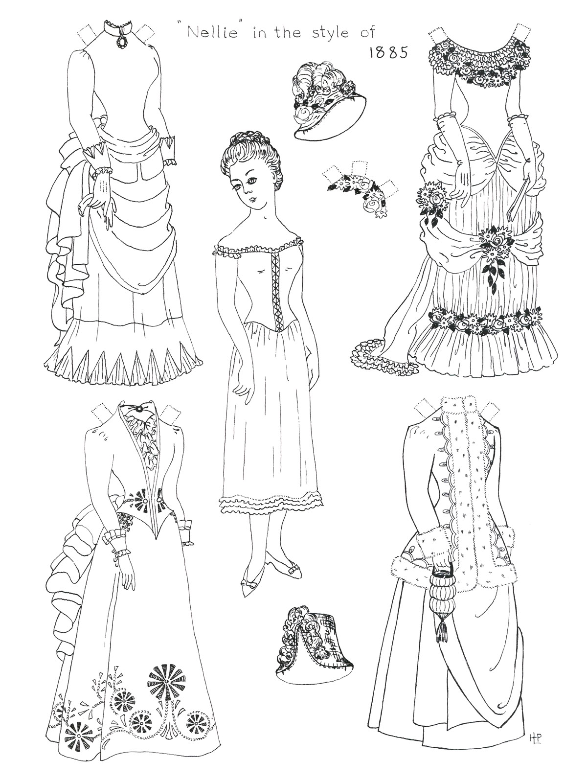 paper doll coloring sheets