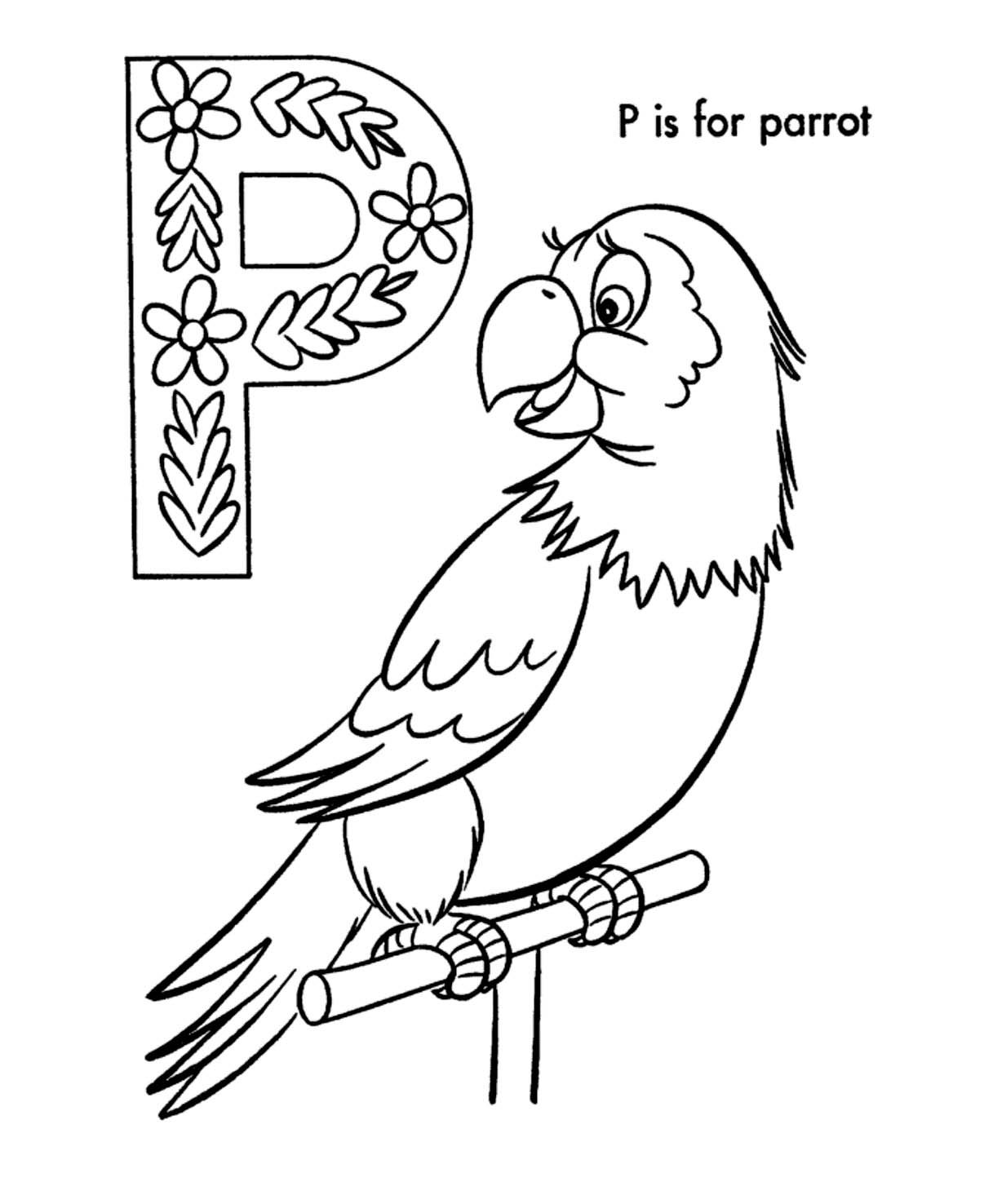 Parrot coloring pages drawing for Coloring pages parrot