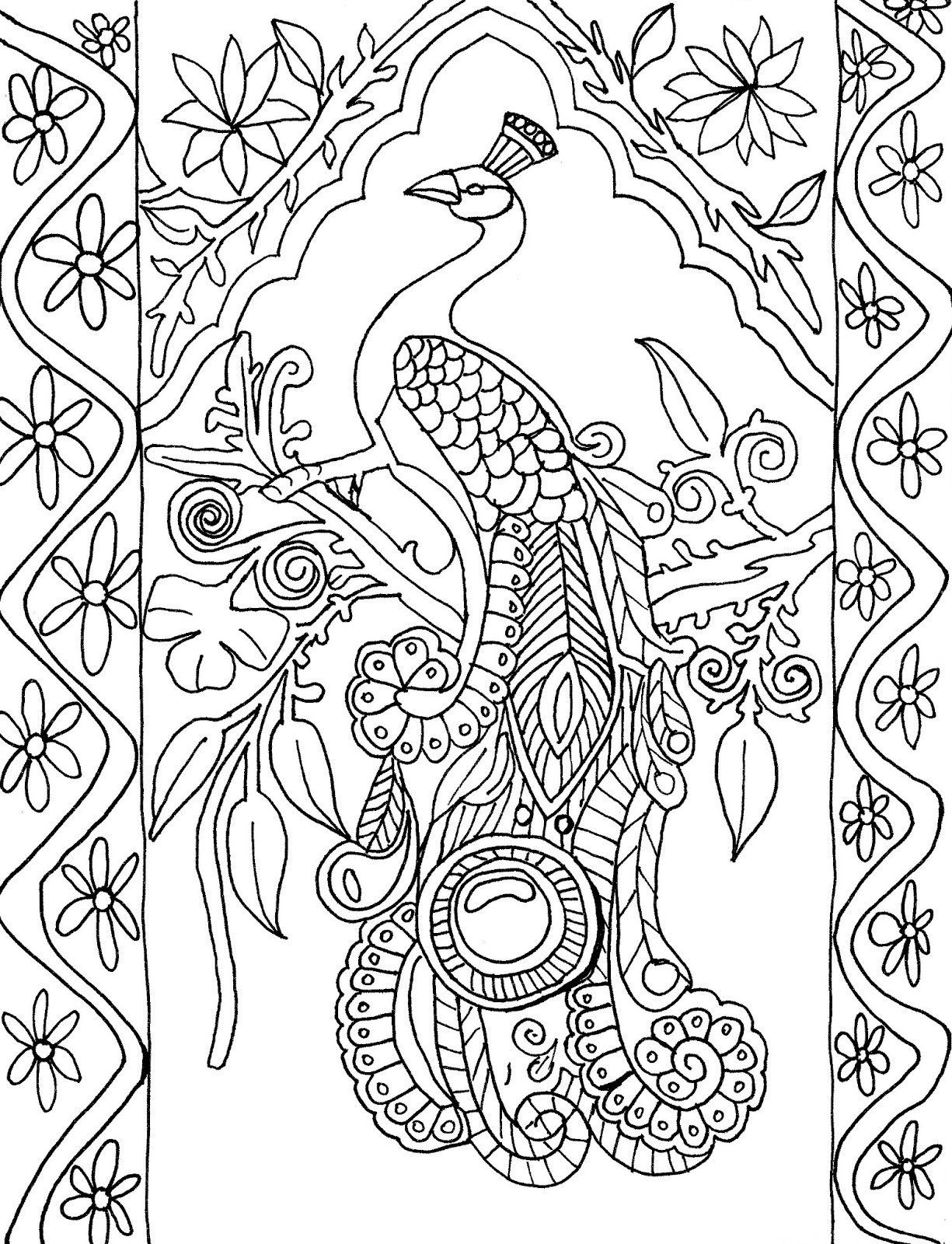Printable Peacock Coloring Pages Coloring Me Peacock Coloring Page