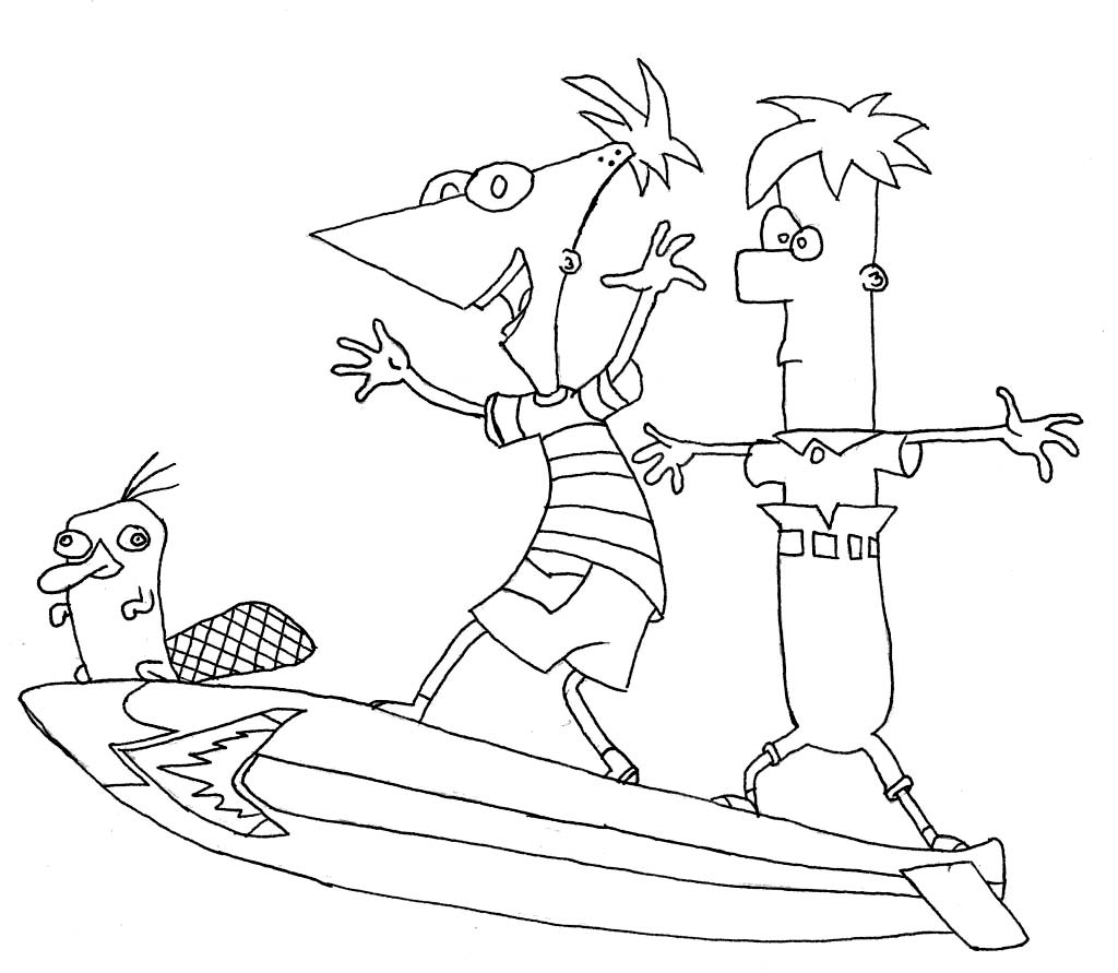 phineas and ferb coloring pages to print - phineas and ferb pictures to color print coloring page