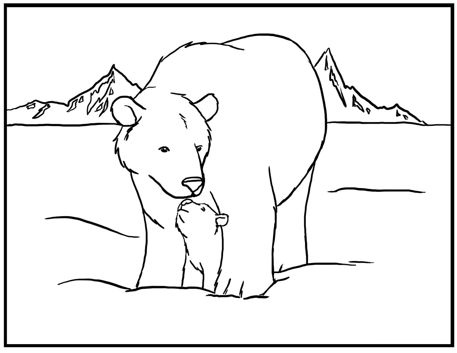 Polar Bear Coloring Page Printable
