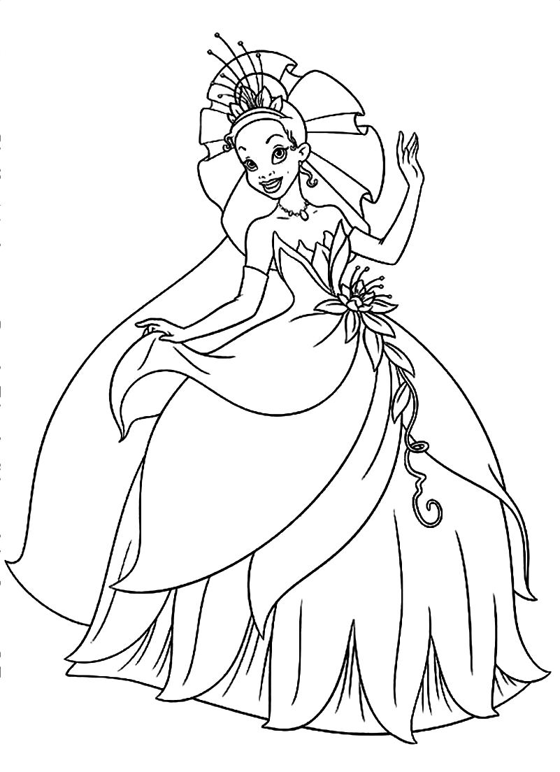 Free coloring pages of princess for Princess printable color pages
