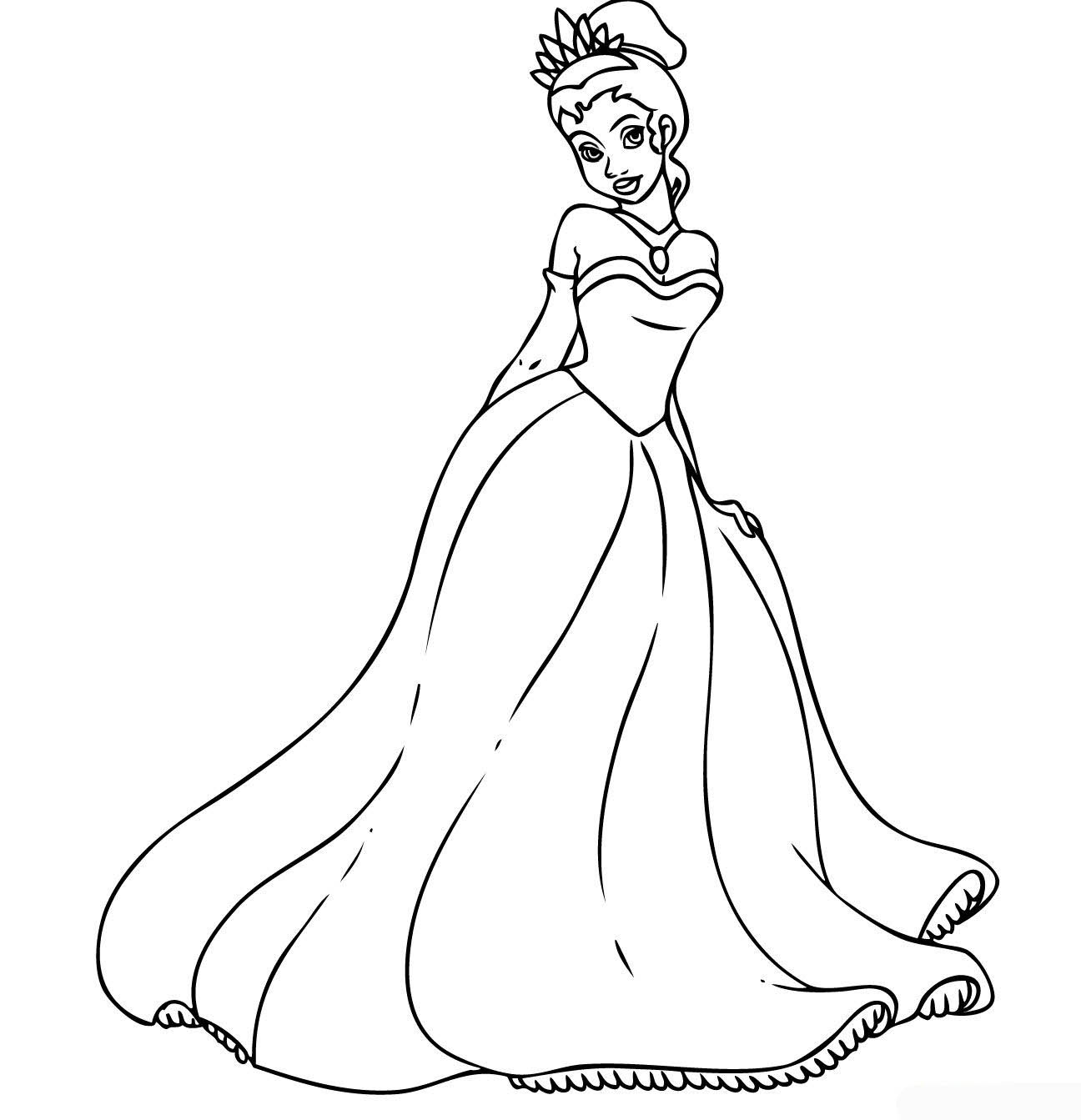 Printable Princess Tiana Coloring Pages Coloring Me Princess Printables