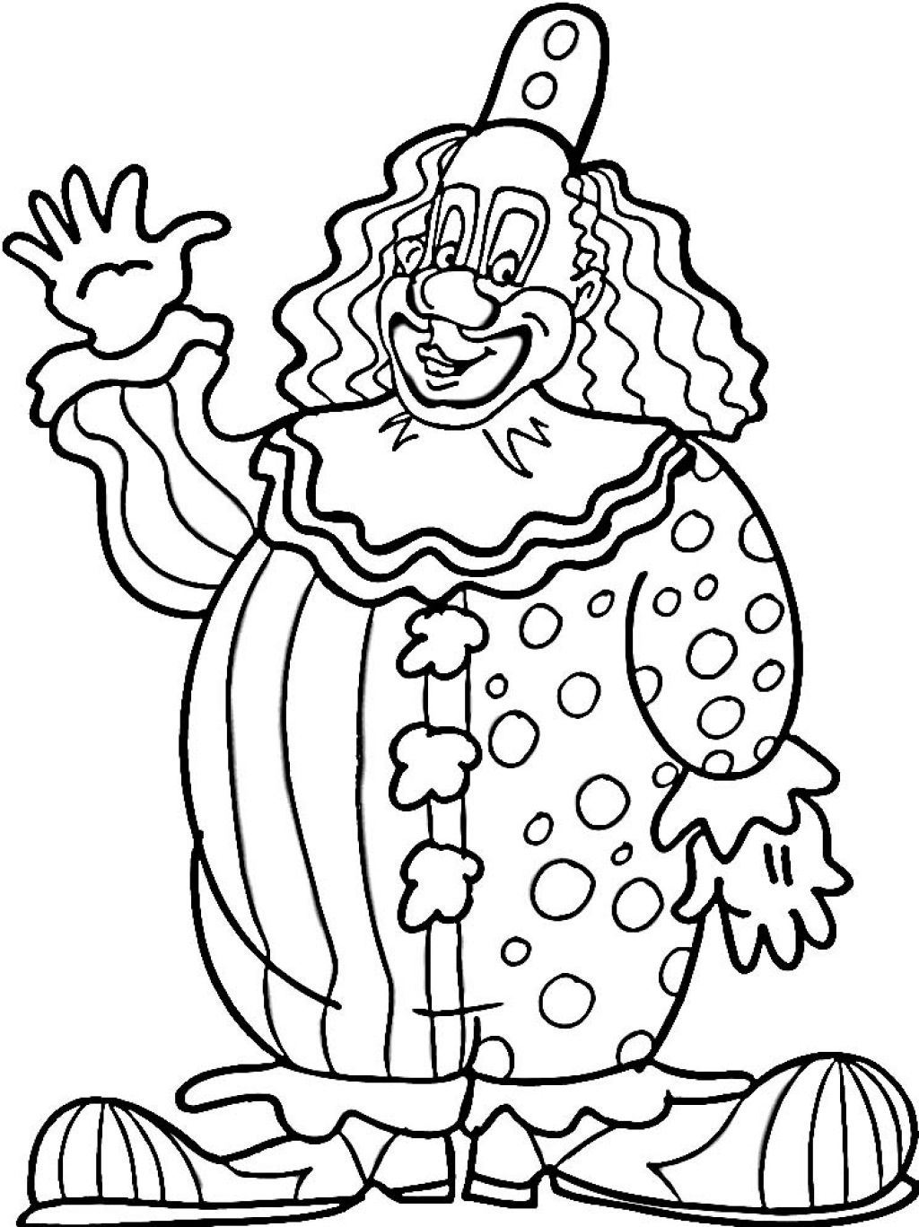 Clown coloring pictures to print coloring page for Printable circus coloring pages