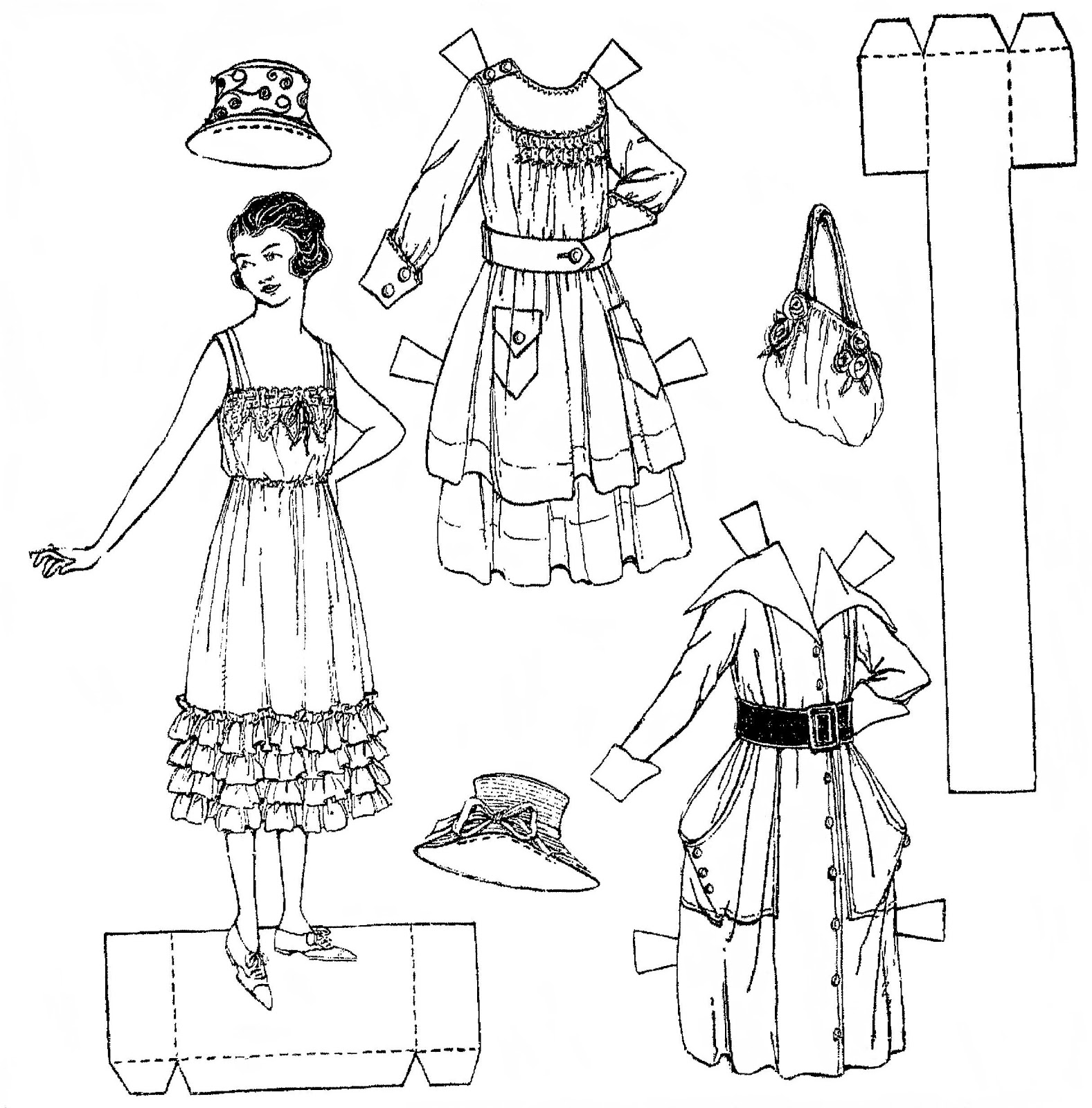 27 Paper Doll Coloring Pages Printable