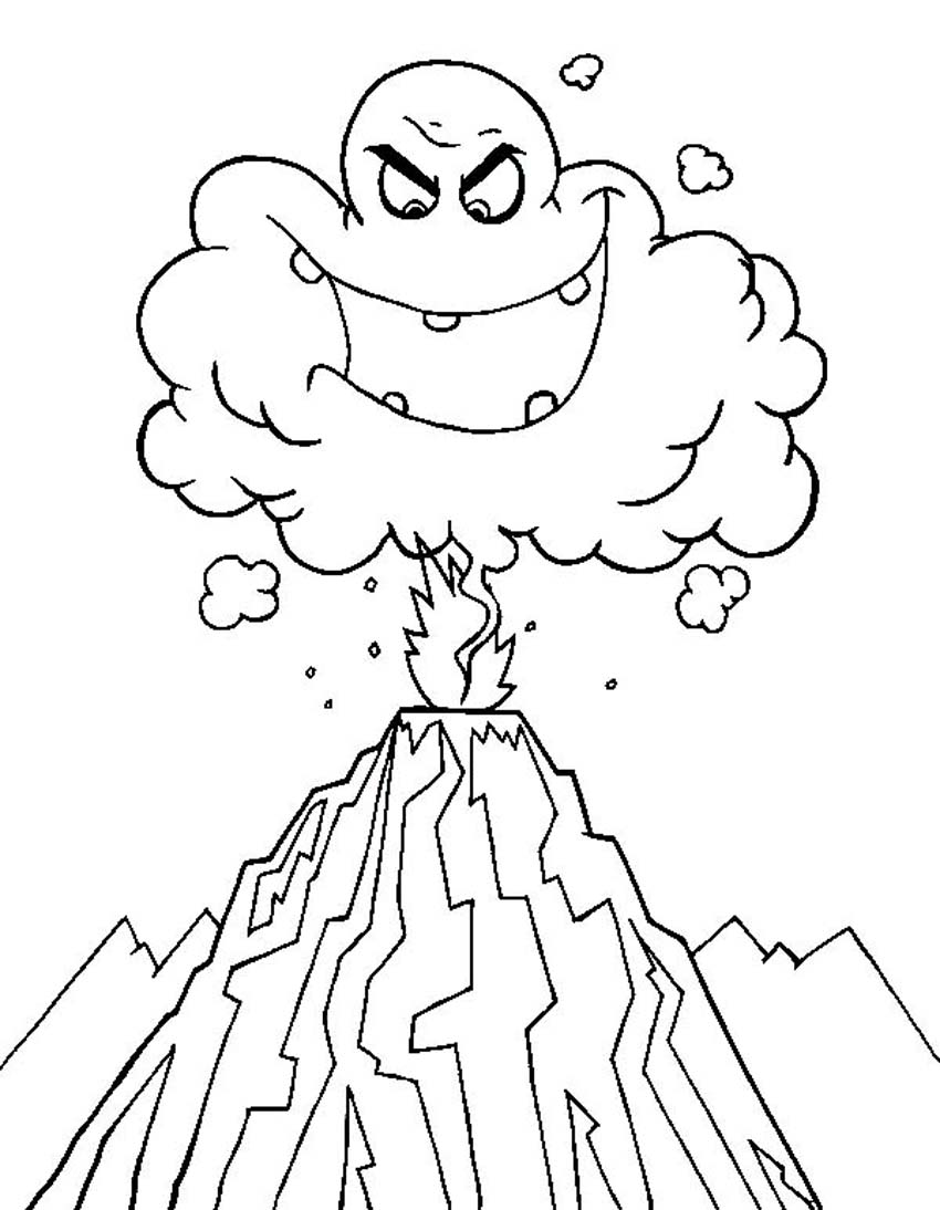 coloring pages volcano - photo #11