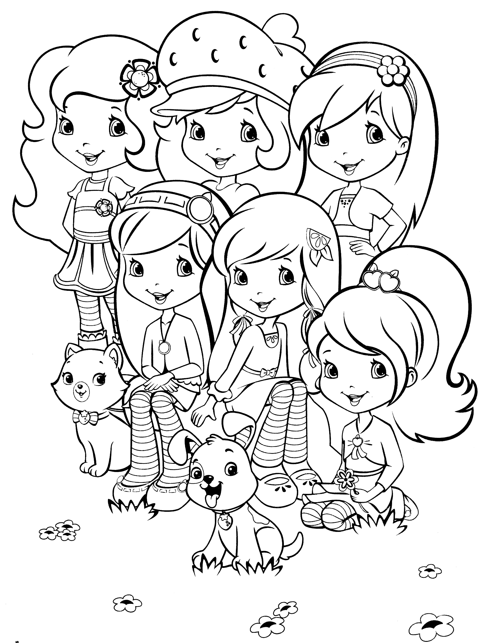 strawberry shortcake and friends coloring pages - strawberry and cherry coloring page coloring pages