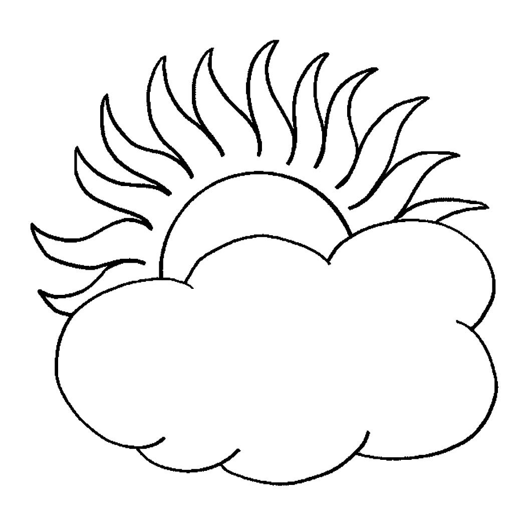 Colouring pages for sun - Sun And Cloud Coloring Pages