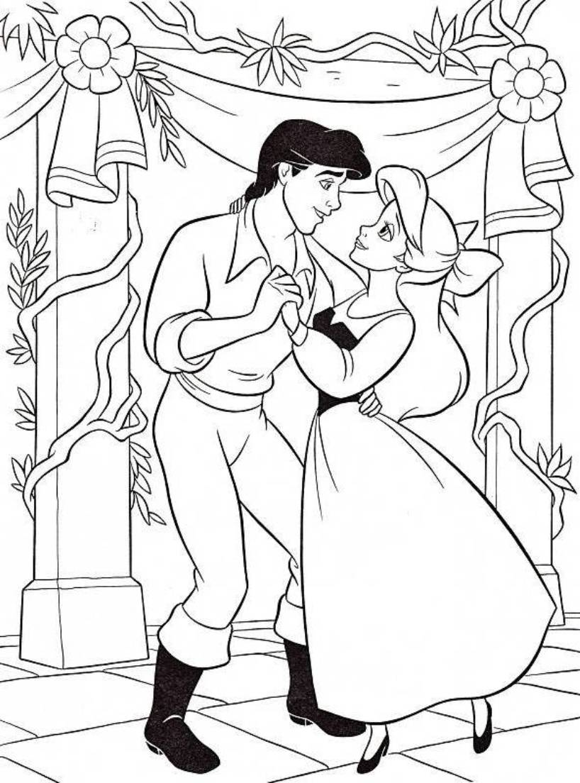 printable little mermaid coloring pages coloring me Ariel and Eric Drawing  Coloring Pages Of Ariel And Eric