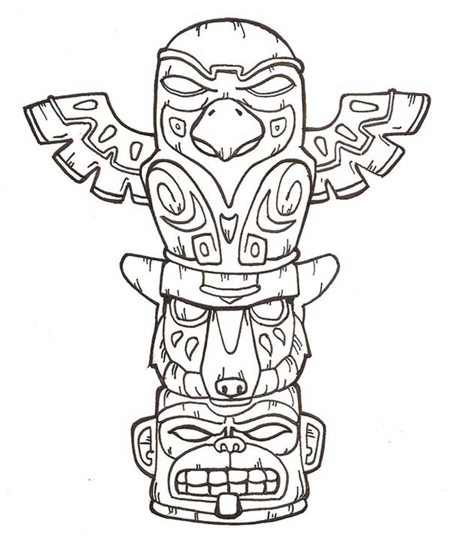 totem pole animal coloring pages - photo#7