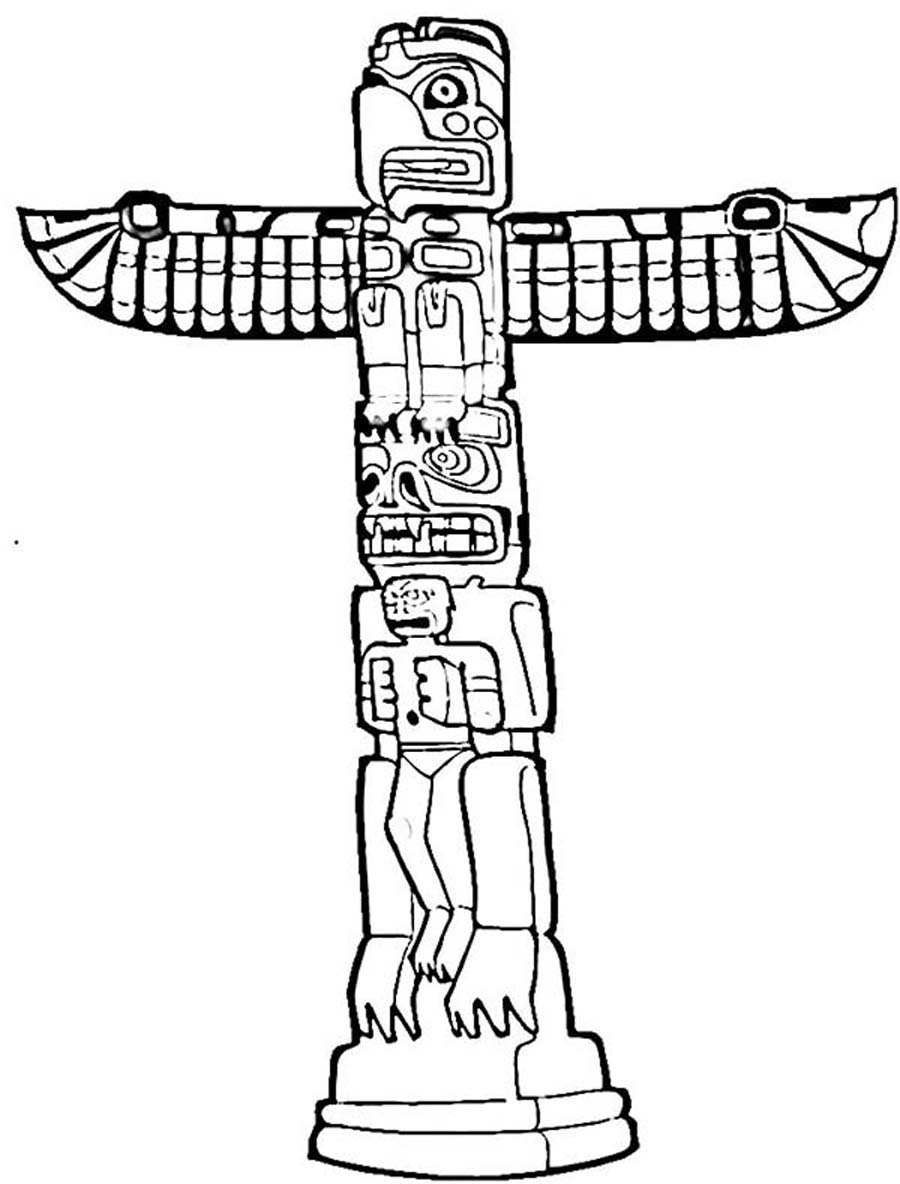 Totem Pole Coloring Page Pictures To Pin On Pinterest