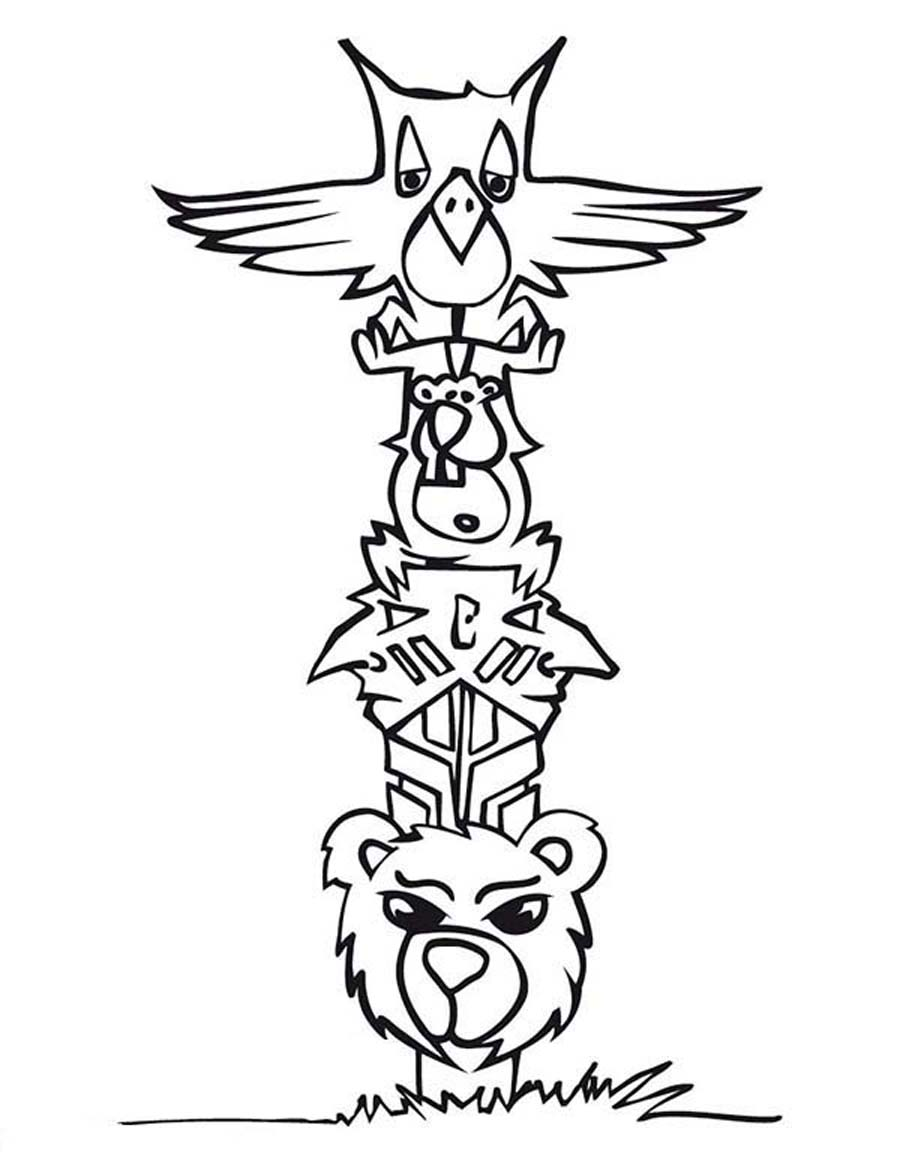 Totem Pole Coloring Pages Totem Pole Coloring Sheet Totem Totem Pole Coloring Pages