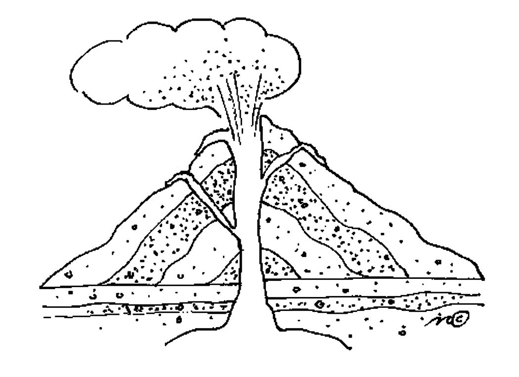 coloring pages volcano - photo #18