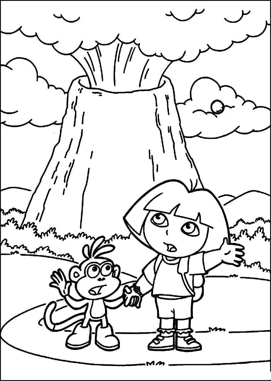 Erupting Volcano Coloring Pages Volcano Eruption Coloring