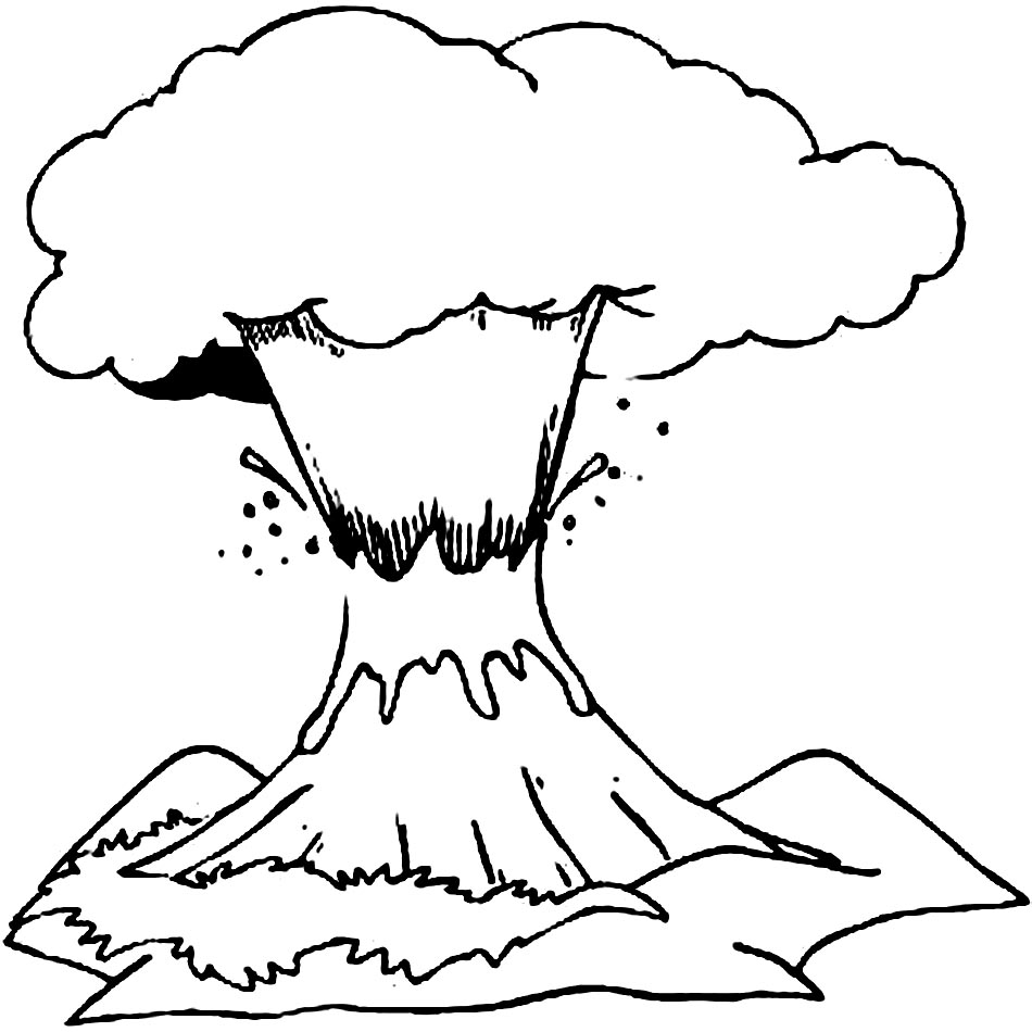 coloring pages volcano - photo #17