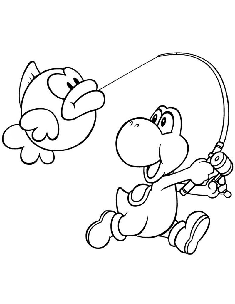 Yoshi free colouring pages for Mario coloring pages yoshi