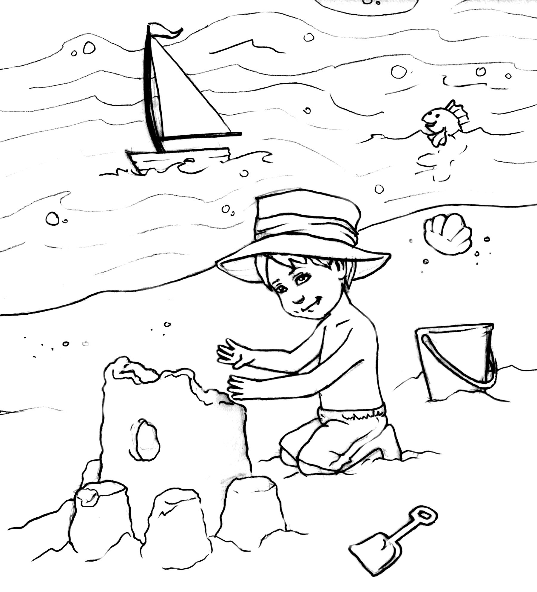 free online beach coloring pages - photo#7