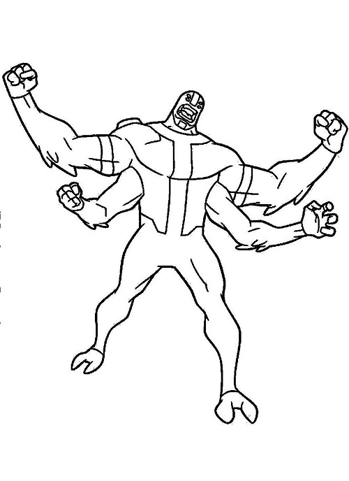 Four arms free coloring pages for Ben ten coloring pages