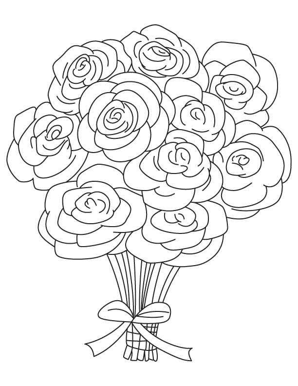 bouquet of roses coloring pages coloring me