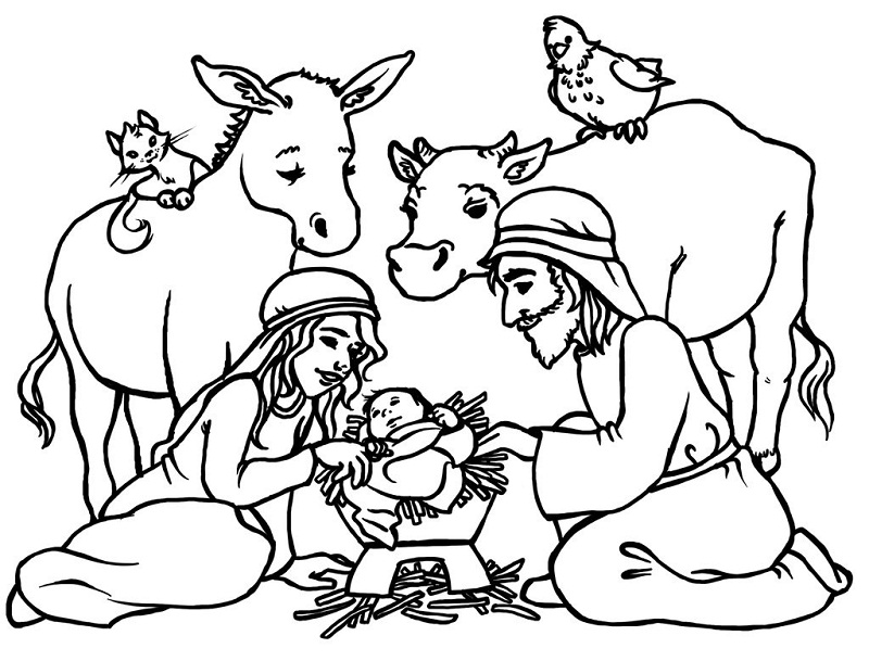 Printable Nativity Scene Coloring