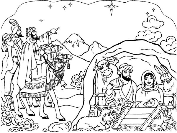 Printable Nativity Scene Coloring Pages | Coloring Me