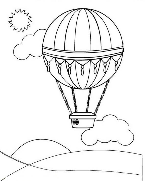 printable hot air balloon coloring pages | coloring me - Hot Air Balloon Pictures Color