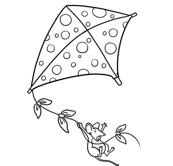 Tom Playing Kite Coloring Page