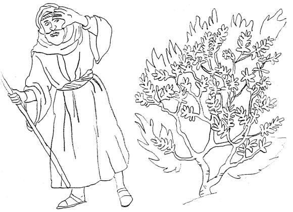 Moses Burning Bush Coloring Page
