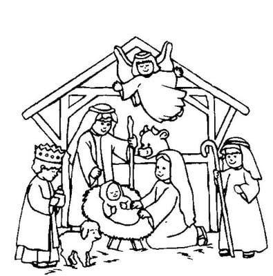 image regarding Printable Nativity Scene called Printable Nativity Scene Coloring Webpages