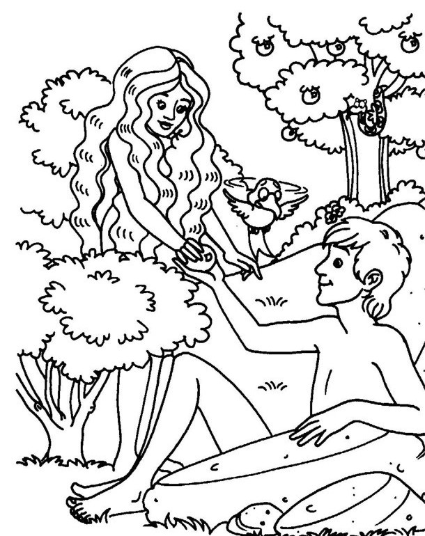 Adam Alone In The Garden Of Eden Coloring Book Elephant