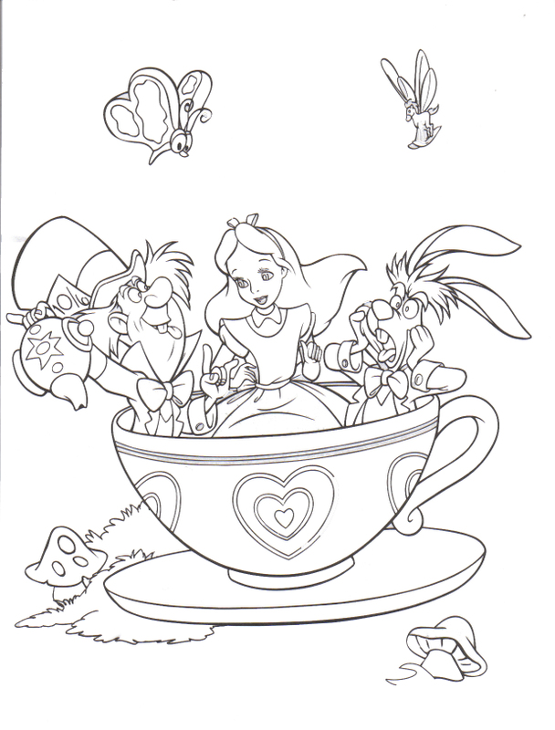 tea cup coloring page children